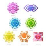 Kolorowe chakras symboli/lów ikony ustawiać Zdjęcia Stock
