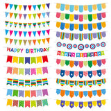 Kolorowe chorągiewek flaga, girlandy i Przyjęcie urodzinowe wektoru dekoracja ilustracja wektor