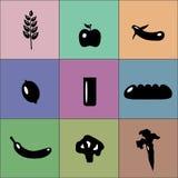Kolorowe dobre karmowe ikony Zdjęcia Royalty Free