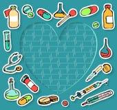 Kolorowe doodle studenta medycyny ikony Fotografia Royalty Free