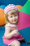 kolorowe dziewczyna parasolkę Obrazy Royalty Free