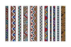 Kolorowe etniczne geometryczne aztec bezszwowe granicy ustawiają, wektor Obraz Stock