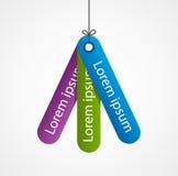 Kolorowe etykietki, etykietki na nici Nowożytny infographic opcja sztandar cztery elementy projektu tła snowfiake białego Zdjęcia Stock