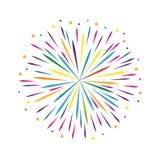 Kolorowe fajerwerku projekta gwiazdy na białym tle ilustracja wektor