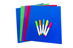 Kolorowe falcówki Z Highlighters Odizolowywającymi Obraz Stock