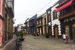 Kolorowe fasady domy w Teror na Granie Canaria Zdjęcie Stock