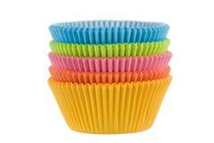 kolorowe filiżanki opróżniają słodka bułeczka Zdjęcie Royalty Free