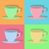 kolorowe filiżanki cztery Obrazy Stock