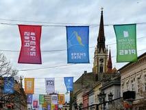 Kolorowe flagi dla świętowania Novi Sad młodości Europejskiego kapitału dla 2019 obrazy royalty free