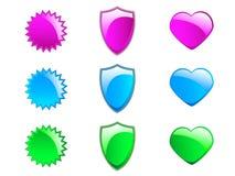 kolorowe glansowane ikony Obrazy Royalty Free