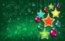 Kolorowe gwiazdy i baubles Fotografia Royalty Free