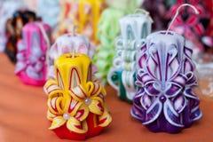 Kolorowe handmade świeczki Zdjęcie Royalty Free