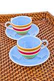 Kolorowe herbaciane filiżanki Fotografia Stock