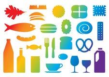 kolorowe ikony żywności na wektorowe Obrazy Royalty Free