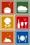 Kolorowe ikony z kuchennymi przedmiotami ilustracja wektor