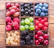 Kolorowe jagody w drewnianym pudełku na stole Odgórny widok obrazy royalty free