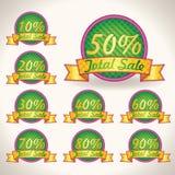 Kolorowe Jaskrawe Sumaryczne sprzedaży etykietki z sprzedaż tekstem. ilustracj porady dla biznesowej grafiki Zdjęcie Royalty Free