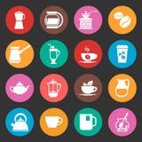 Kolorowe kawowe wektorowe ikony ustawiać royalty ilustracja