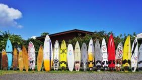 Kolorowe kipieli deski wykładali up w ulicach Maui, Hawaje zdjęcie stock