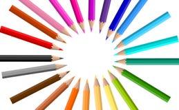 Kolorowe kredki na białym tle ilustracji