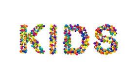 Kolorowe kule ziemskie tworzy słowo dzieciaków Obraz Stock