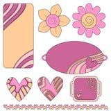 kolorowe kwiatów serc etykietek etykietki Obraz Royalty Free