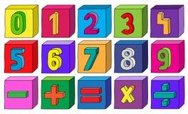 Kolorowe liczby od 1 9 z matematycznie operacjami na blokach Obrazy Stock