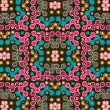 Kolorowe menchie, purpury i błękitny symetryczny wzór nad czarnym tłem, royalty ilustracja