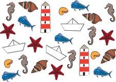 Set morskiego życia ikony Obrazy Royalty Free
