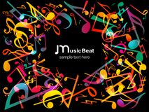 kolorowe muzyczne notatki Wektorowy ilustracyjny Abstrakcjonistyczny tło Fotografia Royalty Free