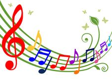 kolorowe muzykalne notatki Fotografia Stock