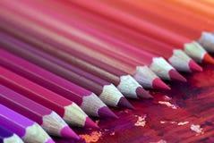 kolorowe ołówki wielu Zdjęcie Stock