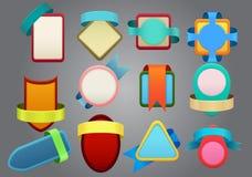 Kolorowe odznaki na szarym tle ilustracji