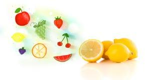 Kolorowe owoc z ręki rysować obrazkowymi owoc Zdjęcia Royalty Free
