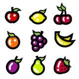 Kolorowe Owocowe ikony ilustracji