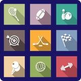 Kolorowe płaskie sportowe ikony Fotografia Royalty Free