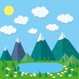 Kolorowe płaskie lato góry Obrazy Stock