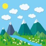 Kolorowe płaskie lato góry Obraz Stock