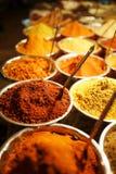 Kolorowe pikantno?? w torbach przy rynkiem w Goa zdjęcia stock