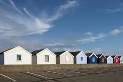 Kolorowe Plażowe budy przy Southwold, Suffolk, U Fotografia Stock
