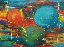 Kolorowe planety z gwiazdami w przestrzeni Fotografia Royalty Free