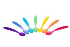 kolorowe plastikowe łyżki zdjęcie stock