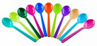 kolorowe plastikowe łyżki Zdjęcie Royalty Free