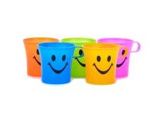 Kolorowe Plastikowe Filiżanki Obraz Royalty Free