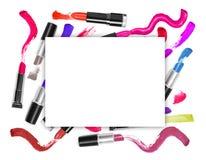 Kolorowe pomadki z promocja kwadrata ramą Zdjęcie Royalty Free