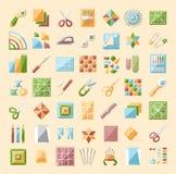 Kolorowe stebnowanie linii ikony ustawiać Patchworku accesso i dostawy Zdjęcie Stock