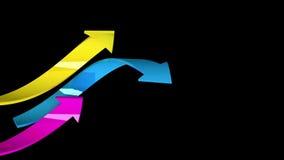 Kolorowe strzała na czarnym tle, 3d ilustracja Zdjęcia Stock