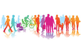 Kolorowe sylwetki chodzeń ludzie ilustracji