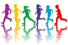 Kolorowe sylwetki dzieci biegać Fotografia Royalty Free