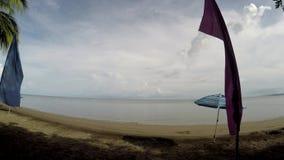 Kolorowe sztandar flaga i Parasolowy Parasol wykładają na tropikalnej pustej piaskowatej plaży zdjęcie wideo